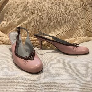 Pink and Brown Kitten Heels